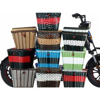 Giỏ xe đạp điện, giỏ mây có nắp gắn cho xe đạp. xe điện, xe cub,...