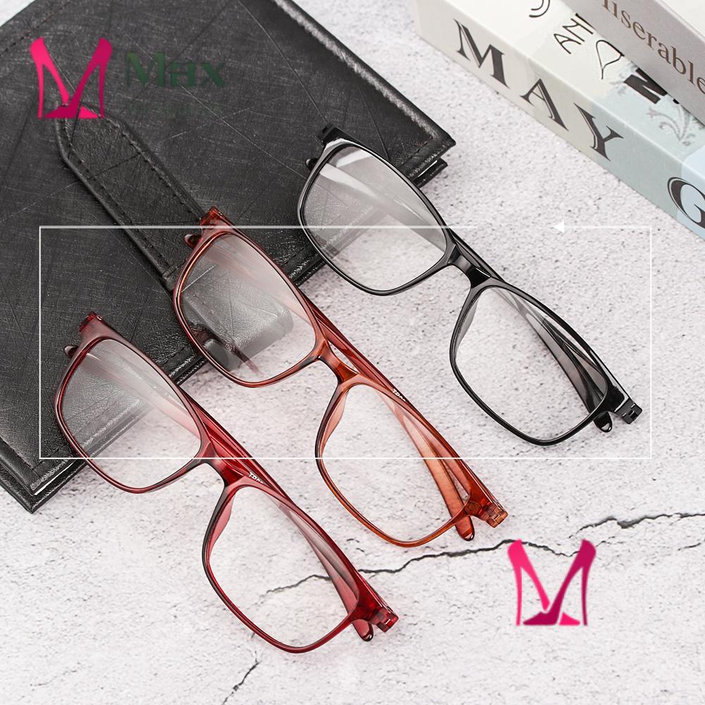 💋MAX TR90 Reader Eyewear Fashion Reading Glasses Presbyopic Glasses Flexible Ultralight Women Men Retro Clear Lens/Multicolor