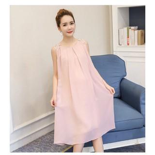Váy bầu (Đầm bầu) hồng thời trang hè 2019