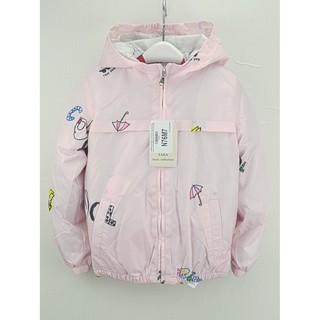 N76M7- Áo gió bé gái, có mũ, chun tay, màu hồng in hình kute, size nhỡ 3t-13t. Vải dù có khả năng chống gió