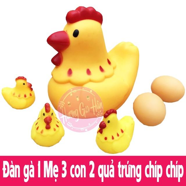 Đàn gà 1 Mẹ 3 con 2 quả trứng cỡ to bóp kêu chíp chíp cực yêu
