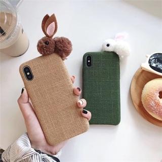 Ốp lưng Iphone phủ vải gắn hình thỏ