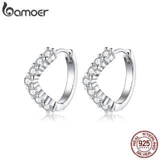 Khuyên tai nữ Bamoer mạ bạc 925 hình chữ v thời trang 2018
