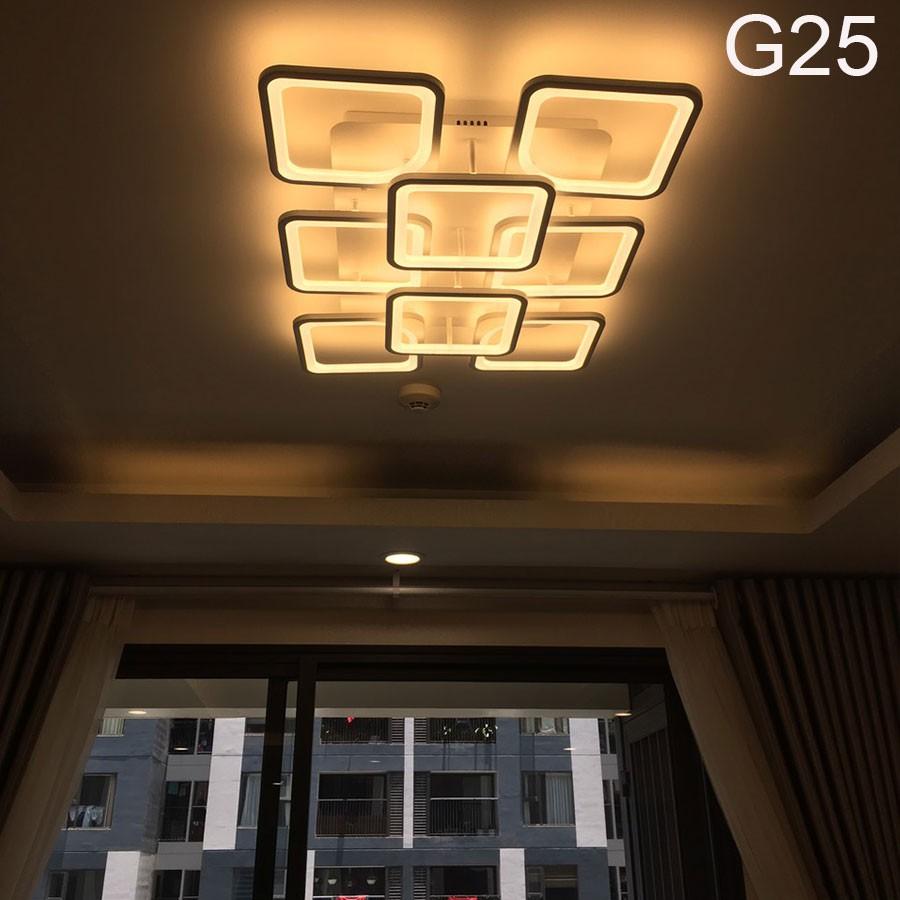 ĐÈN led ốp trần , đèn trang trí phòng khách G25 8 cánh vuông hiện đại 3 chế độ sáng kèm điều khiển  từ xa
