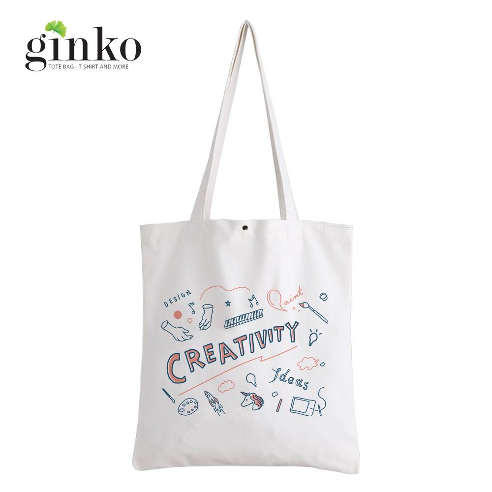 Túi Vải Tote GINKO Kiểu Basic Dây Kéo In Hình Creativity G189