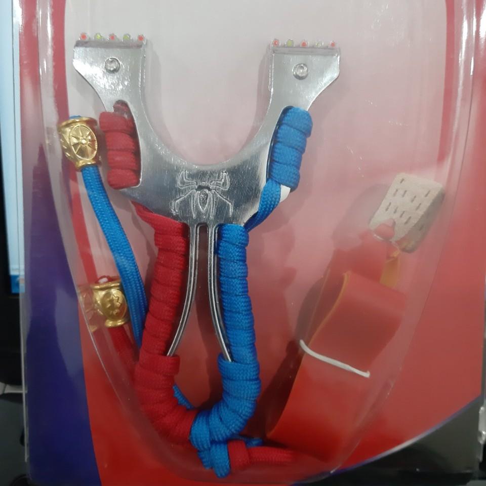 Ná thun NHỆN kim loại xoáy ốc - ná cao su thân kim loại chạc 7.5 (Hình ảnh tự chụp)