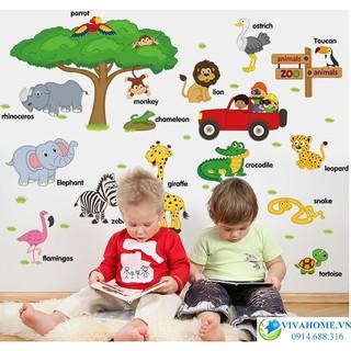 Decal dán tường vườn bách thú dạy con học tiếng anh. Khổ lớn nha các mẹ