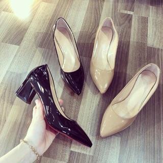 Giày gót vuông công sở đen nude da bóng