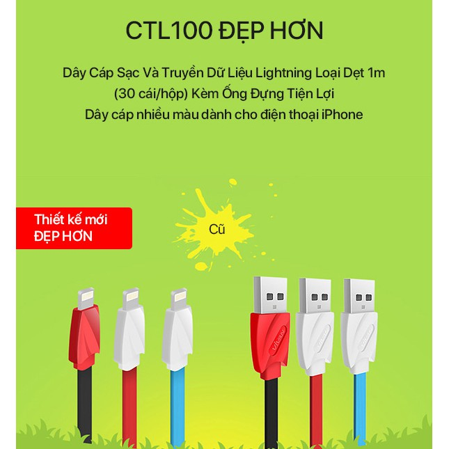 Cáp Sạc Lightning VIVAN CTL100 Nhựa Dẹt 1m - BẢO HÀNH 1 ĐỔI 1 CHÍNH HÃNG