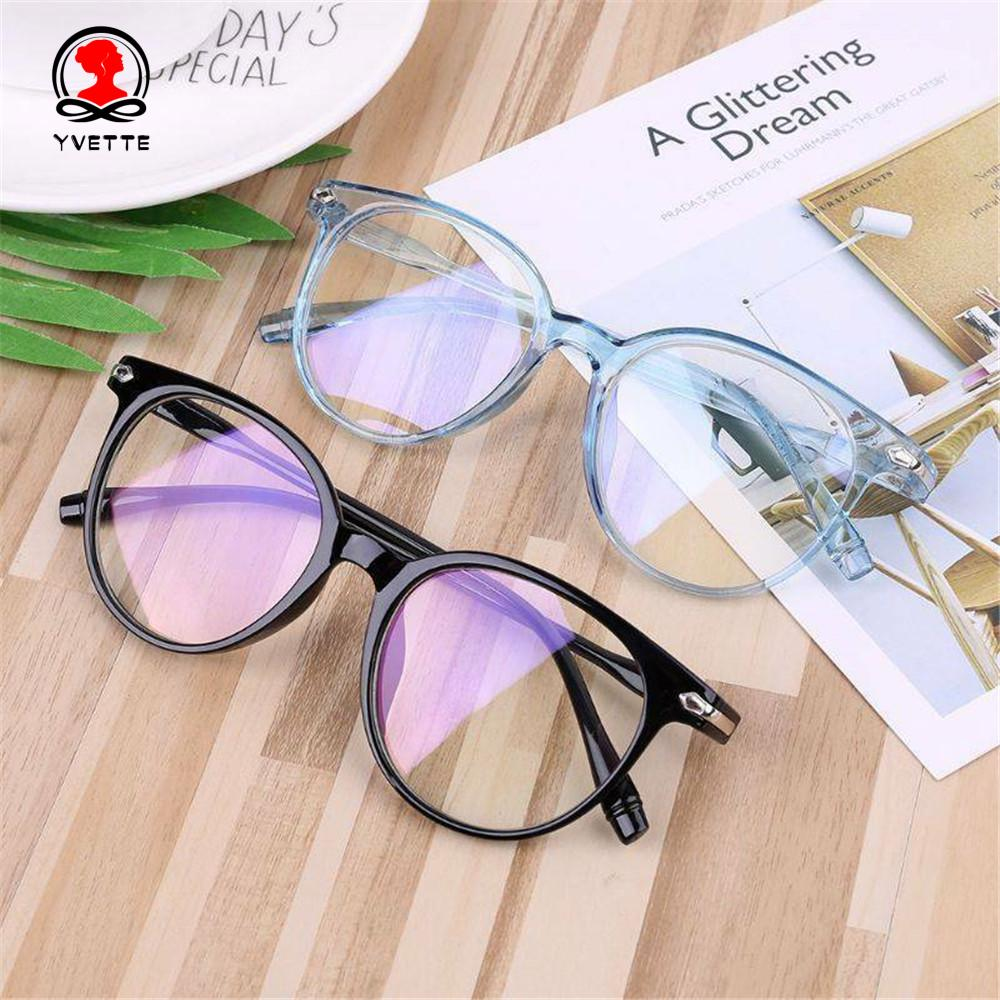 YVETTE Ultralight Vision Care PC Frame&Resin Lens Flexible Portable Transparent Glasses Frame Computer Glasses