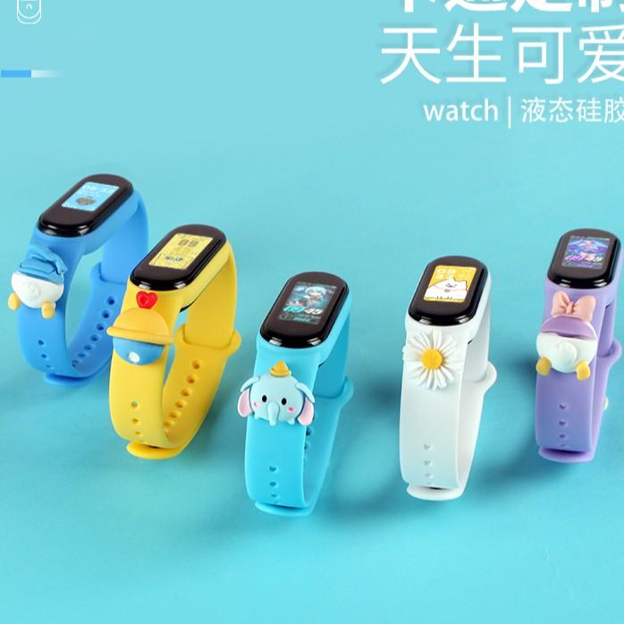 DISNEY Silicon, Đồng Hồ Điện Tử Thông Minh Cho Bé  Dây đeo cao su trơn màu thay thế cho Vòng đeo tay Xiaomi Mi Band 3/4