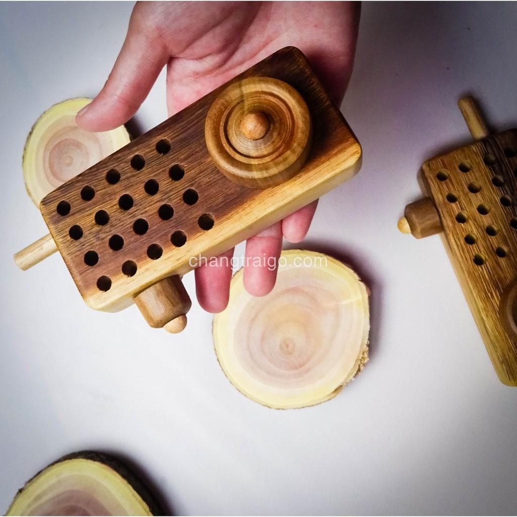 Đồ chơi chỗ cho bé - Bộ đàm chất liệu gỗ tự nhiên an toàn cho bé CHÀNG TRAI GỖ