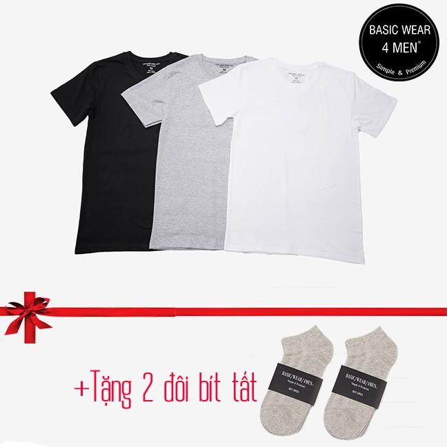FREESHIP- Combo 3 chiếc (T-shirt) 100% cotton thương hiệu Basic Wear 4Men + TẶNG 2 ĐÔI BÍT TẤT BẤT K