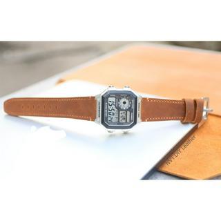 Dây da thay thế đồng hồ Casio AE1200 da bò sáp handmade
