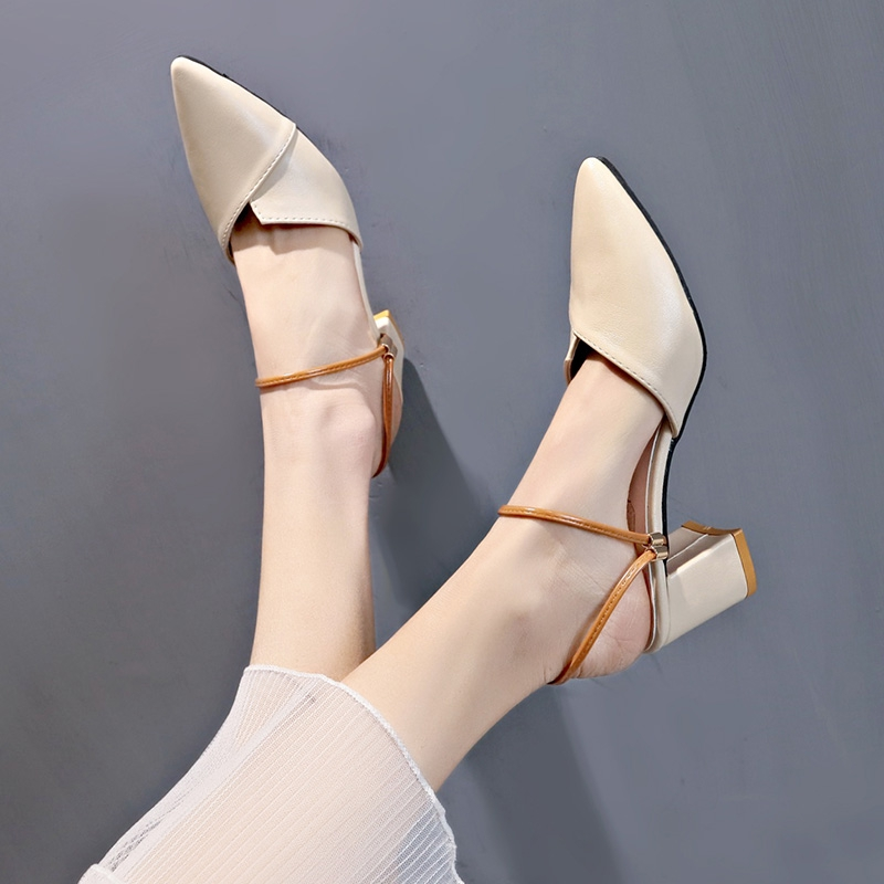 ▨♠❧Cool slippers female outside wear2019 new summer ins super fire thick heeled half net red bag head Muller shoes lazy