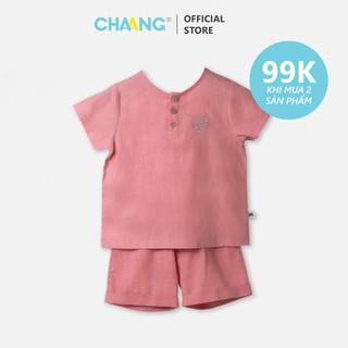Bộ quần áo đũi cổ tàu hồng vỏ đỗ CHAANG (SS20) thumbnail