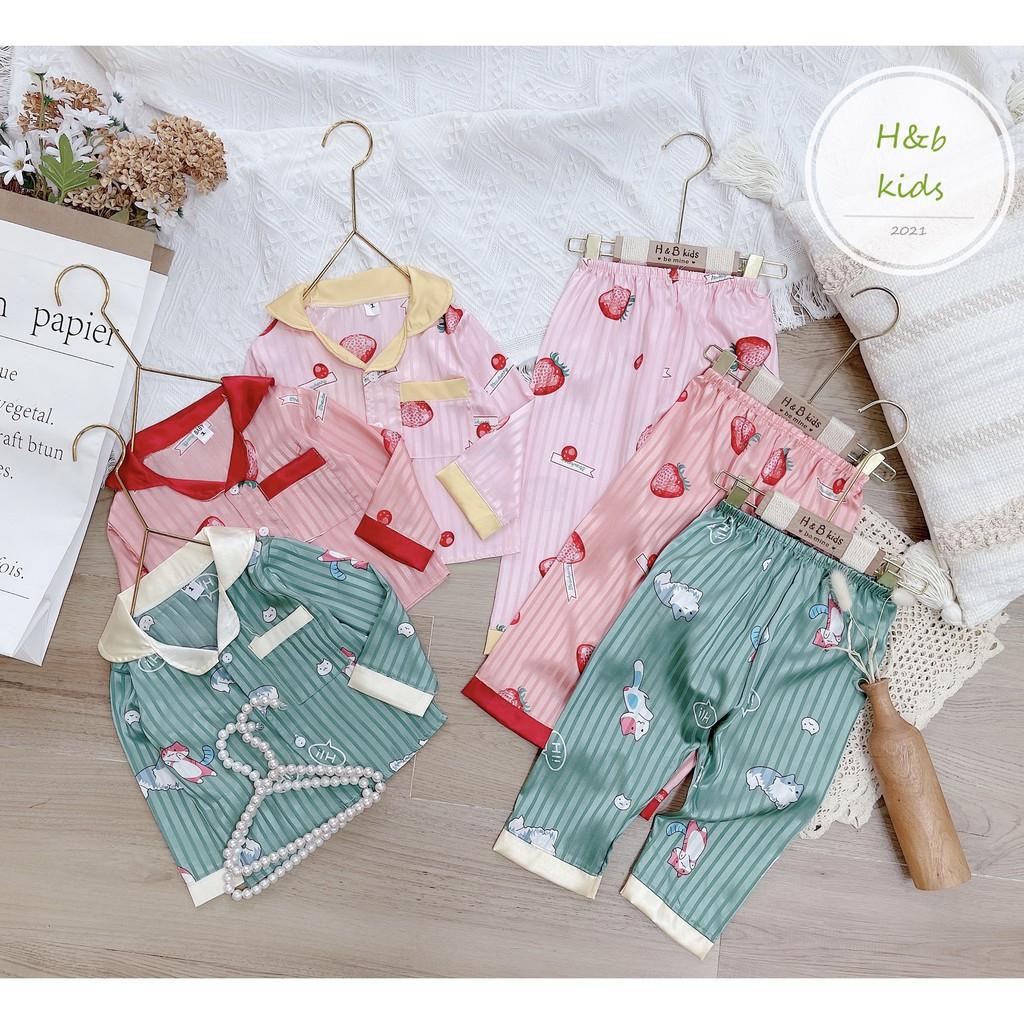 [6 MÀU] Bộ Pijama Dài Tay Chất Gấm Cao Cấp Họa Tiết Đáng Yêu Cho Bé Unchi Store (V433)