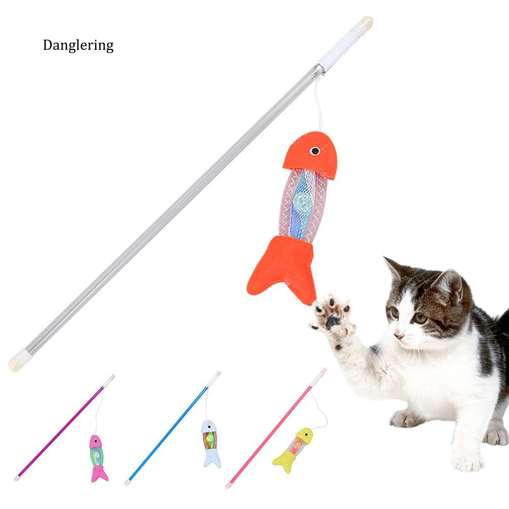 【DGLG】Colorful Cat Hose Spring Fish Toy Interactive Kitten Scratch Bell Play Teaser