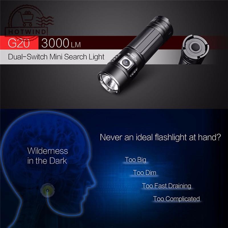 HW Klarus Flashlight G20 Mini Light 3000 N4 XHP70 LED Dual-Switch