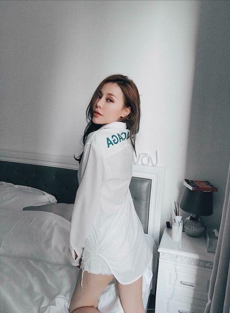 Áo sơ mi trắng chữ lưng hàng quảng châu cao cấp siêu đẹp