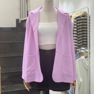 Áo blazer tím trơn tay dài hai túi hot trend