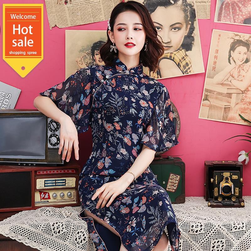 chepa dress-style dress 2019 new female summer daily Chinese style improved version of the new national style cheongsa