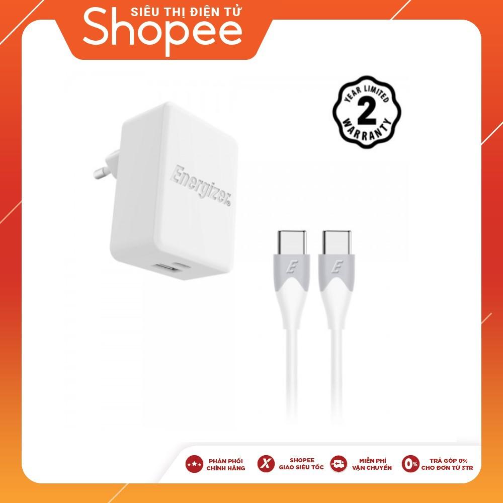 Sạc Energizer 30W PD18W 1USB-C/1USB, kèm cáp USB-C2 màu trắng - AC11PFEUUCC3 (New)