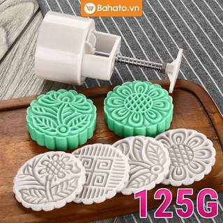 Khuôn bánh trung thu lò xo 4 mặt tròn hoa văn truyền thống 125g