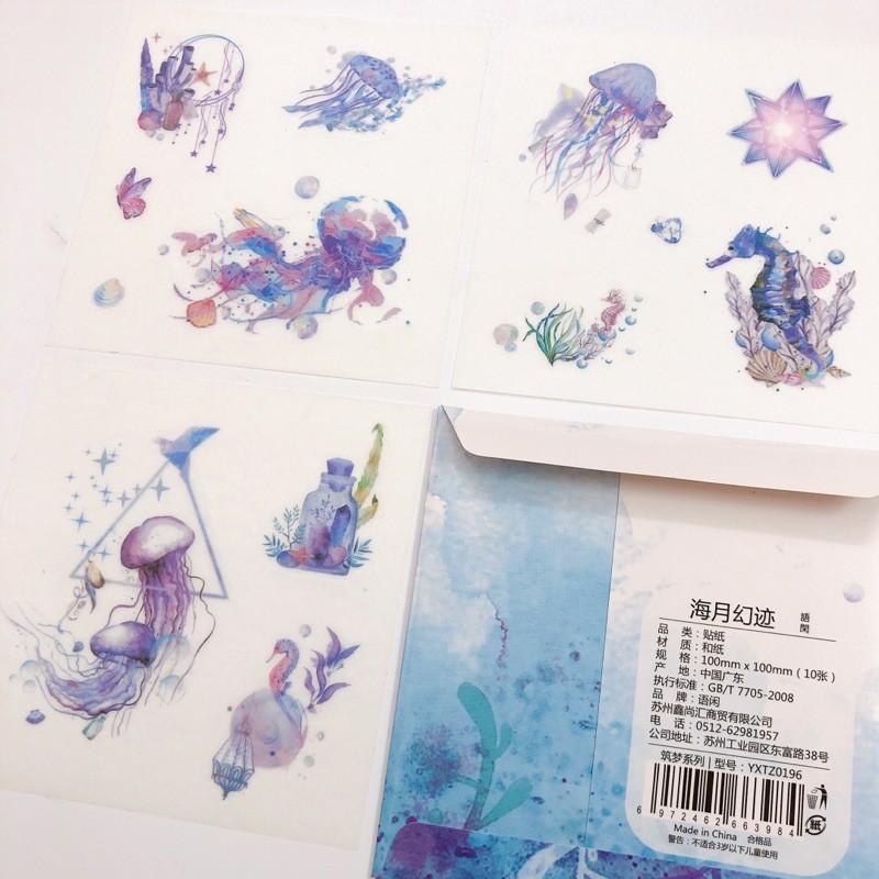 Set 10 tấm 10x10cm (gồm nhiều hình nhỏ) sticker hình dán sổ tay trang trí Ocean đại dương