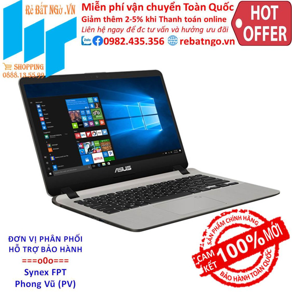 Máy tính xách tay/ Laptop Asus X407MA-BV043T (N4000) (Vàng đồng)