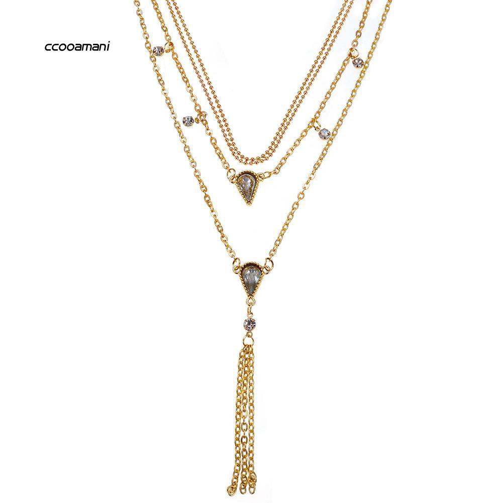 XL-Women Fashion Multi-layer Waterdrop Tassel Pendant Chain Choker Necklace Jewelry