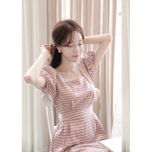 Đầm Caro Hồng Đậm Tay Bo Cực Hot