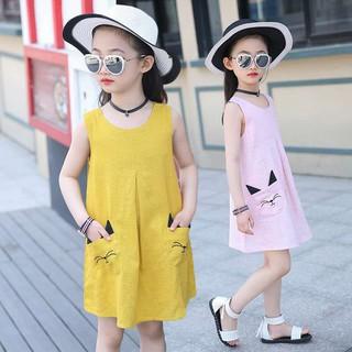 ✨CindyMom✨ Đầm cotton sát nách cho bé gái Quần áo trẻ em