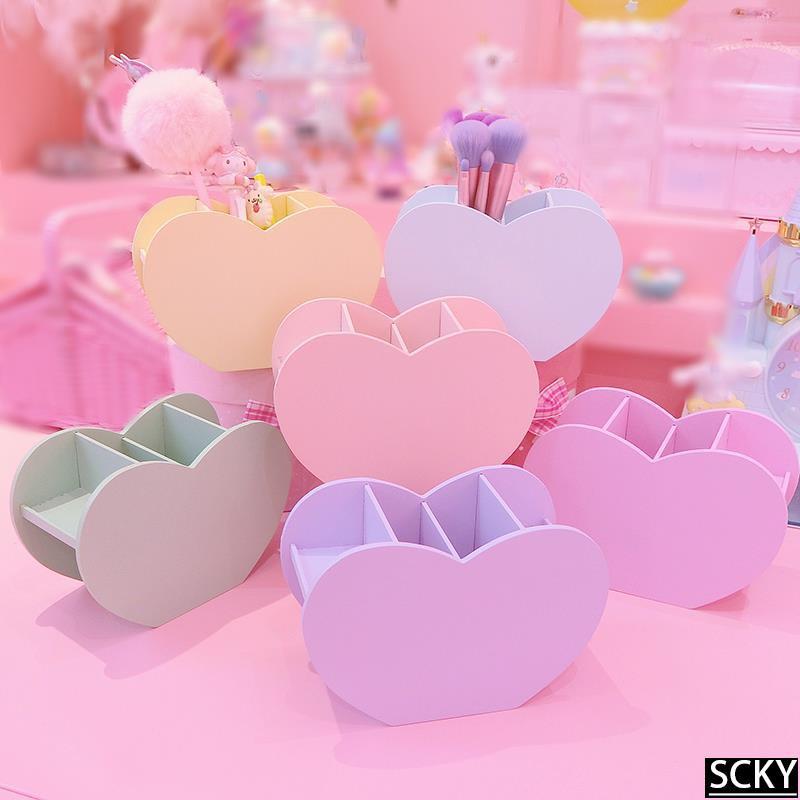 ★Pink girl heart Macaron color love desktop storage box mult