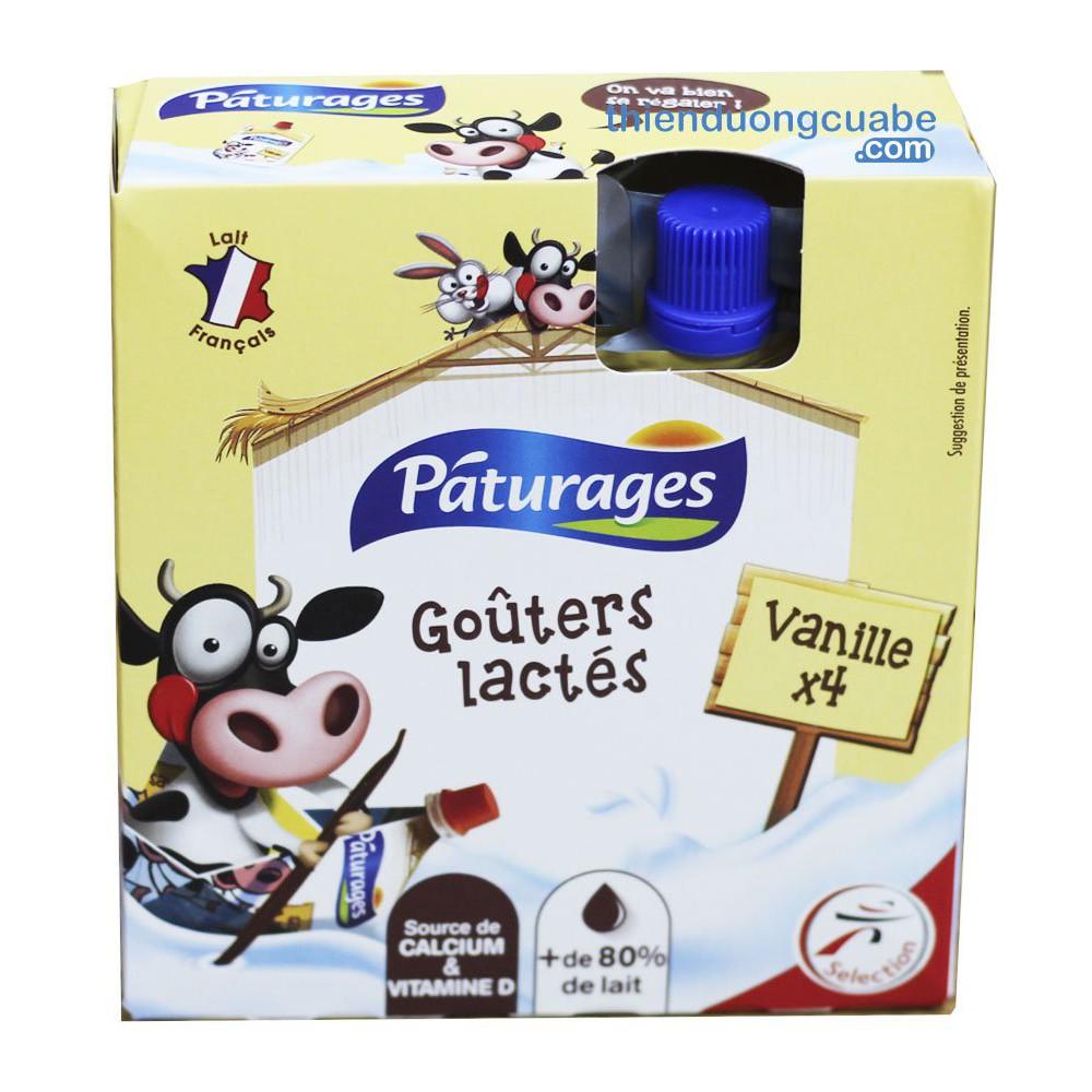 Váng Sữa Paturages Vị Vani Dạng Túi (1 Hộp 4 Túi) [chính hãng]