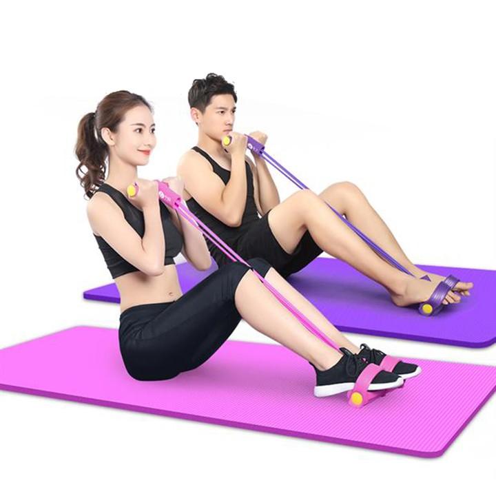 Dây kéo đàn hồi 4 ống cao su bàn đạp chân -dụng cụ tập gym thể dục săn chắc bụng tay vai tại nhà cho nam nữ tập thể hình