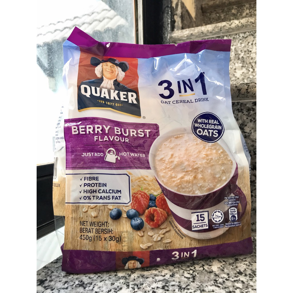 Ngũ cốc ăn kiêng Quaker 3 IN 1 túi 15 gói ăn sáng giảm cân (date 06/2020)