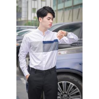 Áo sơ mi nam ⚜️FREESHIP⚜️ Sơ mi nam công sở cổ tàu form Slimfit Hàn Quốc dễ mặc – Thô đũi cao cấp : full size