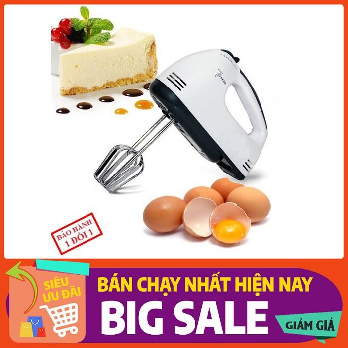 Máy đánh trứng kem bơ cầm tay, máy làm bánh 7 tốc độ tặng 4 que làm bánh