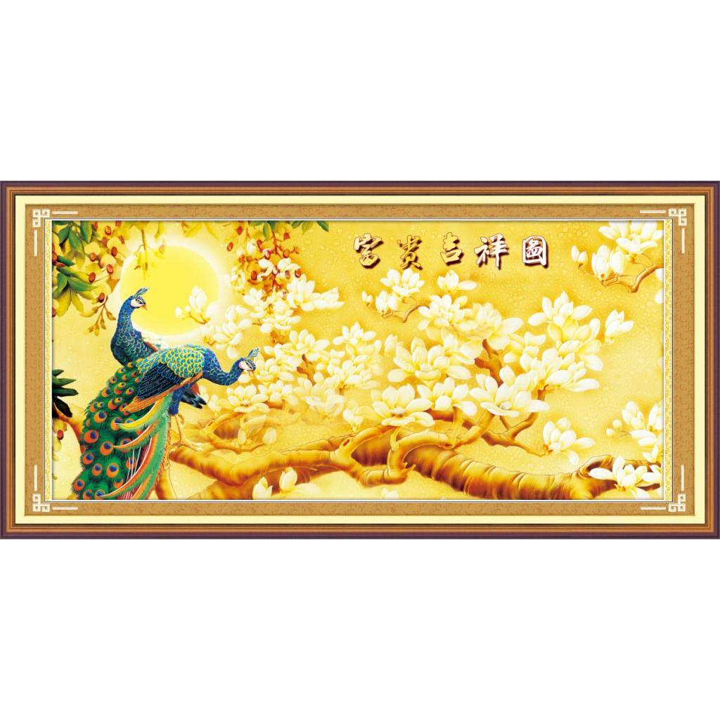 tranh đính đá 5D Mẫu tranh cây vàng may mắn đep nhà đẹp cửa