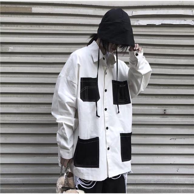 Áo sơ mi kết hợp áo khoác phối túi trắng đen độc lạ cho cả nam và nữ [Hàng order] (ảnh thật ở 6 hình cuối) 2