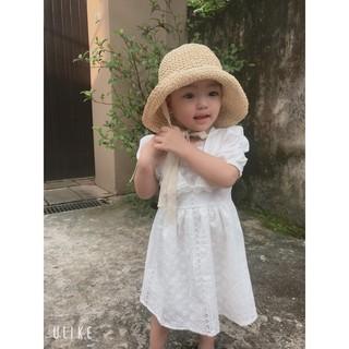 Váy cho bé gái - Váy xòe cộc tay Smartkids thêu hoa vải thô boi loại đẹp TE2673