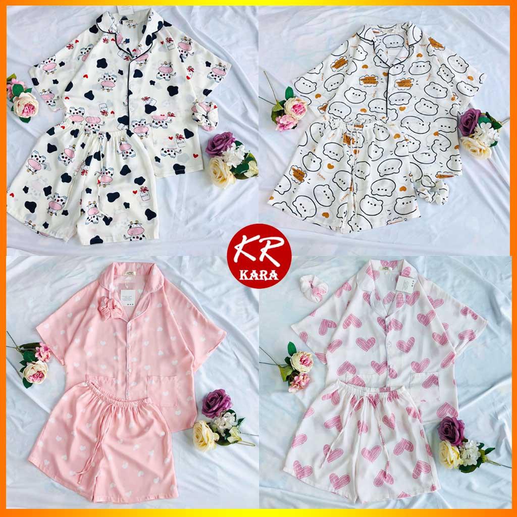 Mặc gì đẹp: Ngủ ngon hơn với (Cam kết loại 1) Đồ ngủ Pyjama lụa mango họa tiết cánh dơi  KS02- Free size dưới 65kg, Lụa mango thoáng mát- KARA 02