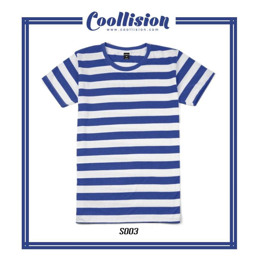 Coollision เสื้อยืดแขนสั้นลายทาง สีน้ำเงิน ริ้ว 1 นิ้วoollision เสื้อยืดแขนสั้นลายทาง สีน้ำเงิน ริ้ว 1 นิ้ว