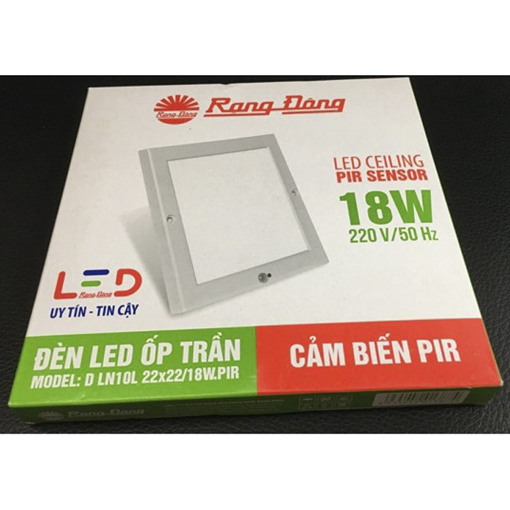 Đèn LED Ốp Trần Vuông Cảm Biến Rạng Đông D LN08L.RAD