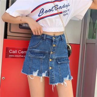 (Order) có bigsize Quần giả váy jeans gấu tua rua lệch phối cúc dọc 2019