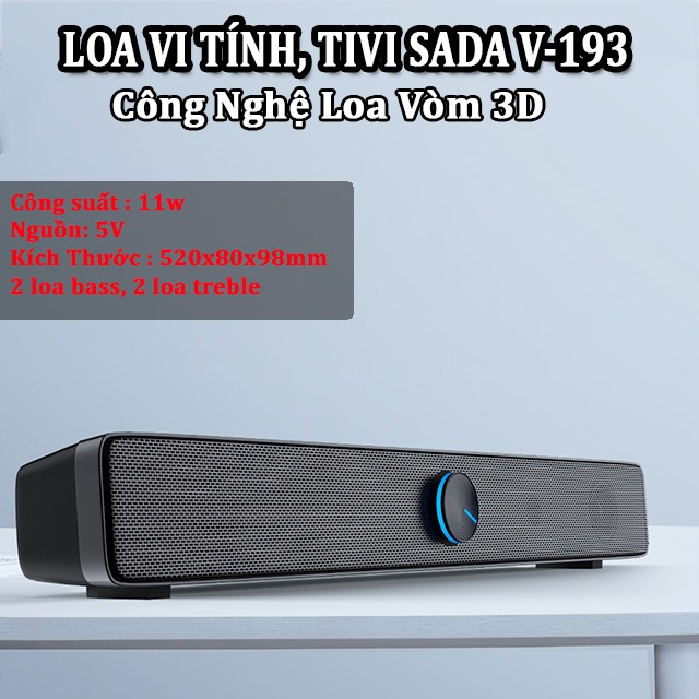 Loa Nghe Nhạc Loa Thanh Gaming Soundbar Để Bàn SADA V-193 Âm Thanh Siêu Trầm Dùng Cho Máy Vi Tính Pc Laptop Tivi