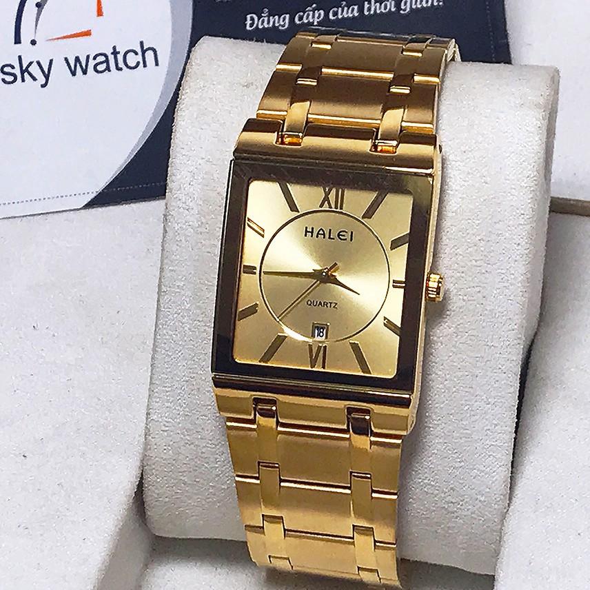 (SIÊU PHẨM) Đồng hồ nam HALEI H564 Đẳng cấp doanh nhân mặt vuông dây thép cao cấp sang trọng