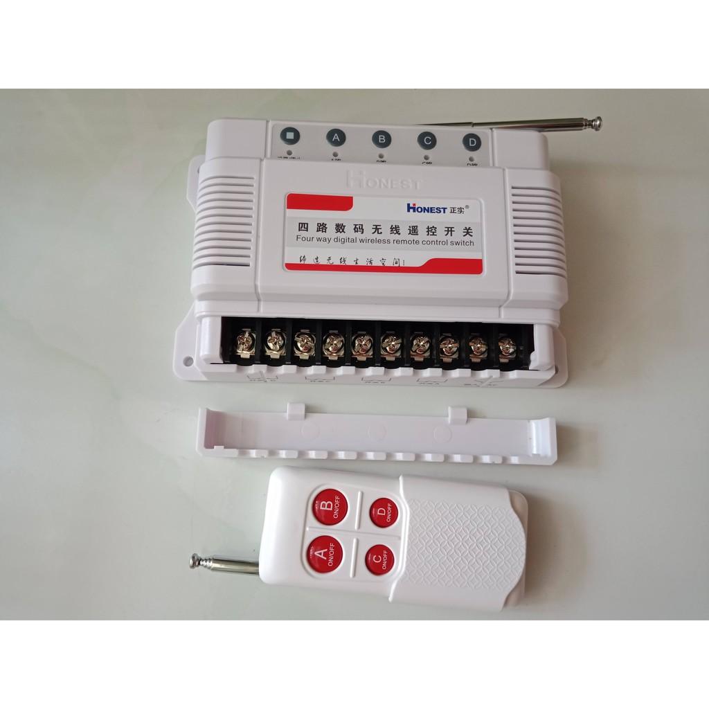 HT-6804 Công tắc Honest 4 cổng điều khiển từ xa 100-1000m, điều khiển điện từ xa (HT-7800W)