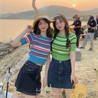 Korean style fashion retro slim all-match striped short-sleeved knitted T-shirt